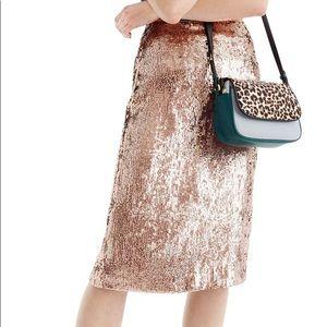 J Crew Sequin Midi Skirt Rose Gold size 4